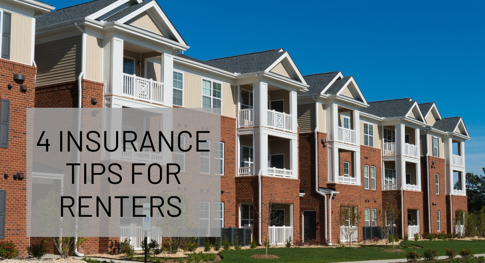 blog image of modern apartment building; blog title: 4 Insurance Tips for Renters